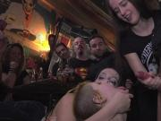 Two Euro slaves banged in public bar