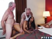Hot Latina Riding Old Guy While Watched By Others