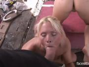 Helpless naked blonde has sex with a bunch of total strangers