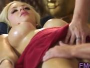 Busty blonde MILF fucked after masage