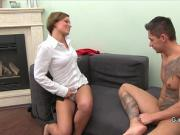 Good looking muscular guy bangs female agent