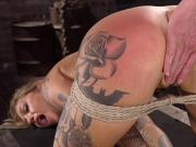 Alt busty blonde in hogtie vibed