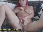 Super Fit And Horny Redhead Milf Fucks Dildo