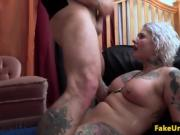 Busty inked MILF clitrubs while riding officer cock analy POV