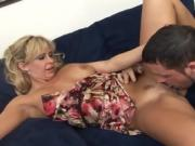 Stunning blonde MILF bounces up and down on his cock