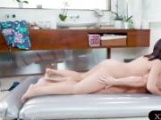 Lovely masseuse fuck on nuru massage bed