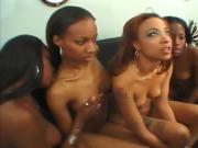 This group of ebony babes lick and tease one another
