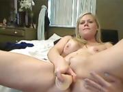 Big booty blonde MILF masturbates fat pussy