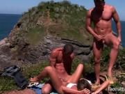 Lucky guys stuff a busty babe on a big cliff
