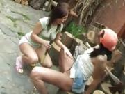 Brunette threesome socks Cutting wood and eating pussy