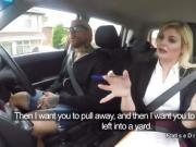 Busty driving examiner bangs in car