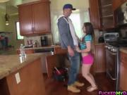 Cute teen Bambi Brooks swallows a plumbers cock
