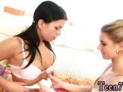 Sloppy kissing lesbian teens Girlassociates toying each other