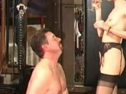 He rinses his mouth and spits it in his husband's mouth.