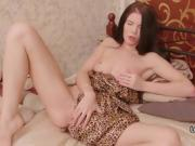 Gorgeous Eastern European chick plays with her toys