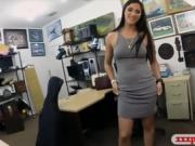 Hot woman satisfied by the pawn keeper by fucking her