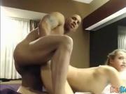 Cute blonde fucks black cock