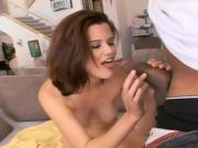 Beautiful brunette honey takes his BBC in her pussy