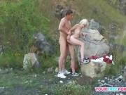 Skinny babe having hard time on the mountain