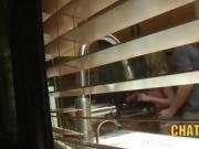Hot Teen Blonde Babe Swallows Cock Spycam