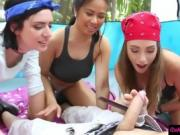 Nasty besties enjoyed camping and orgy with camp councelor