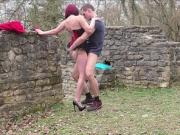 GERMAN AMATEUR TEEN Couple Fuck Outdoor for Own Porn Movie
