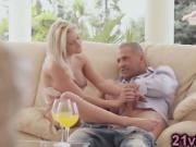 Stunning blonde Sienna Day plays with cock