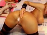 Slutty Blonde Fingers & Toys Ass On Cam