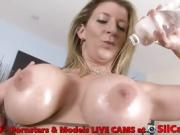 Dirty Blonde Milf Displays Her Huge Oily Boobs, Cunt & Ass