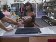 Ebony Lexxi Deep desperately fucks a horny pawnman for cash
