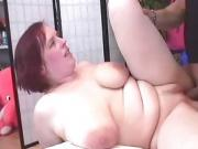 Redhead Busty Milf Takes A Big Dick In Bald Cunt