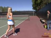 Cute blonde babes gets a tennis lesson and then has sex
