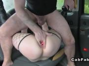 Busty Brit deep throats in fake taxi