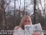 Broke blonde sucks cock outdoors