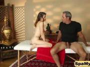 Sexy brunette gets fucked instead of massage