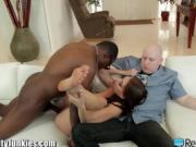 Brunette Babe Kayla West Bangs Moe Johnsons Big Black Cock