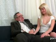 Kissable schoolgirl gets seduced and banged by her elderly le