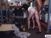 Hot blonde milf sucks off and screwed by pawn keeper