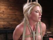 Blonde bdsm sub fingered and whipped till she squirts