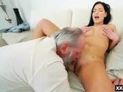 Teen enjoyed by a bearded grandpa who licked and fucked her