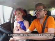 Redhead amateur driving student banging