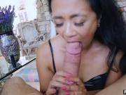 Asian MILF stepmom fucks and sucks a stepsons huge cock