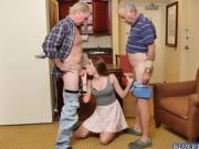 Naomi Alice overloaded with Grampa cocks both mouth and pussy