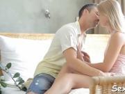 Astonishing teen chick stimulates her virgin pussy hard