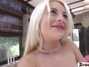 Hardcore anal threesome with a stunning blonde bitch