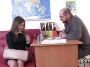 Nice schoolgirl is teased and plowed by her older instructor