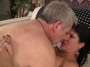 Long hair brunette MILF gets fucked by a big cock