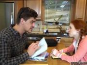 Petite redhead Dolly Little sneaks off with her tutor while mom isn't looking
