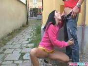 Horny couple get naughty in the public places