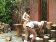 Hottest lesbians hd Cutting wood and eating pussy